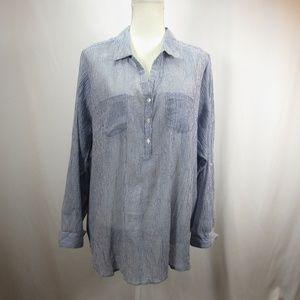 Dressbarn White Blue Striped Button Down Shirt NWT